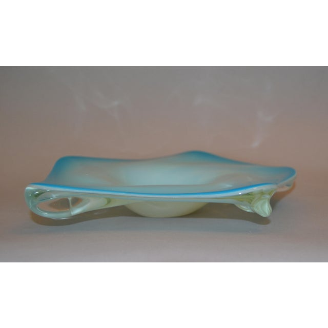 Glass Murano Glass Hand Blown Blue, White and Clear Catchall Bowl, Italy For Sale - Image 7 of 9