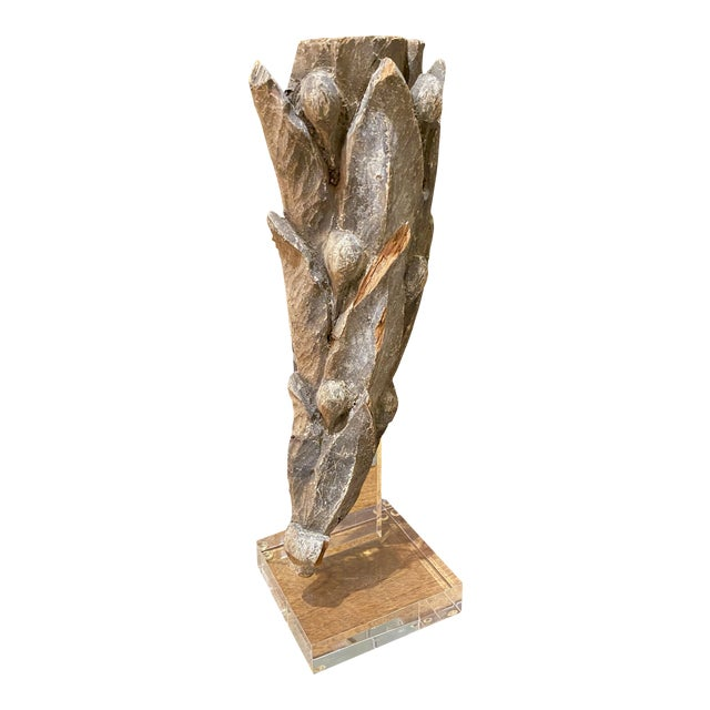 19th Century Leaves and Berries Carved Fragment on Stand For Sale