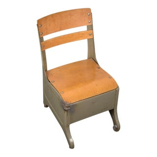 Vintage Mid Century Metal and Wood School Children's Chair For Sale