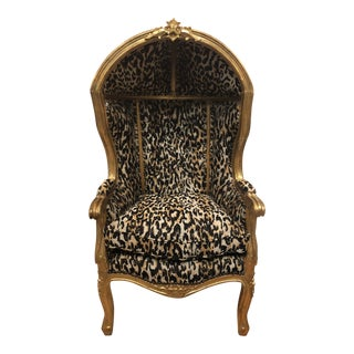 18th Century Antique French Louis XV Porter Child or Pet Chair With Leopard & Rivet Upholstery For Sale
