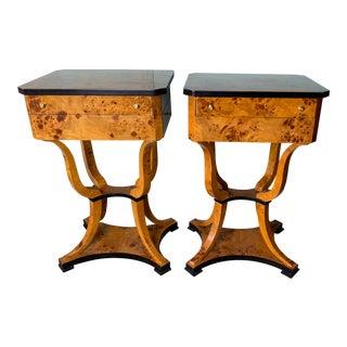 Vintage Biedermeier Side Tables Nightstands - a Pair For Sale