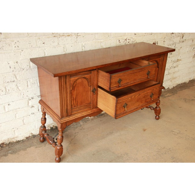 Antique Baker Furniture Oak Sideboard Buffet - Image 7 of 11 - Antique Baker Furniture Oak Sideboard Buffet Chairish
