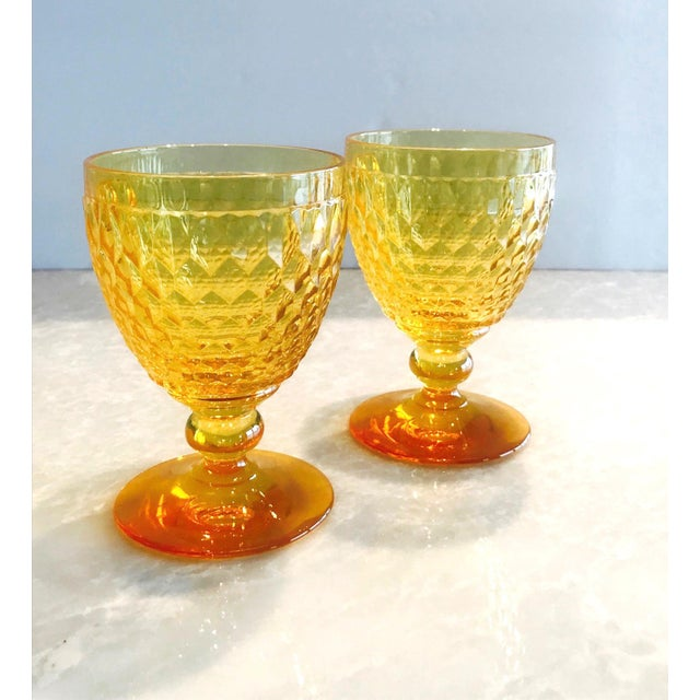 Vintage Crystal Amber Colored Wine Glasses by Villeroy & Boch, Set of Eight For Sale - Image 9 of 13