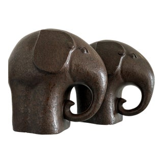 Vintage Ceramic Elephant Figurines - a Pair For Sale