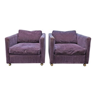 1970s Vintage Milo Baughman Style Upholstered Lounge Chairs - A Pair For Sale