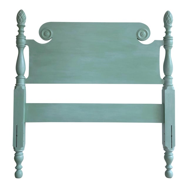Vintage Shabby Chic Twin Bed With Pineapple Finials For Sale