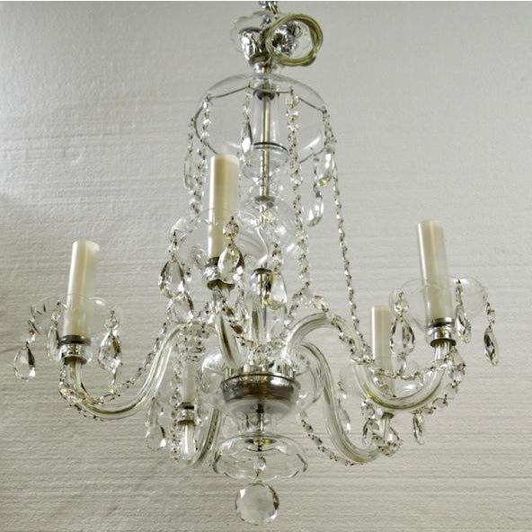 French All Crystal Five Light Chandelier with Waterfall Beading - Image 7 of 7