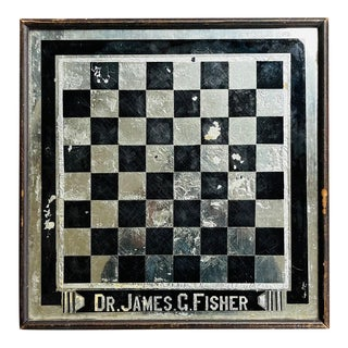 Antique 1900s Art Deco Checkerboard Aafa Advertising Folk Art Reverse Glass Wooden Frame Wall Game Board Dr James G Fisher For Sale