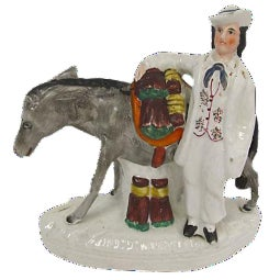 Antique English Staffordshire Donkey Figure For Sale