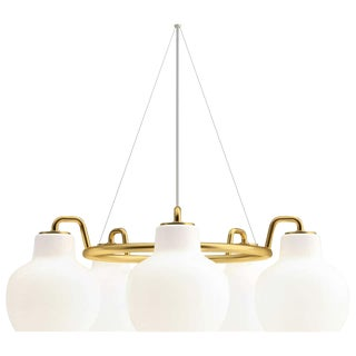 Vilhelm Lauritzen 5-Shade Brass & Glass Ring Chandelier for Louis Poulsen For Sale
