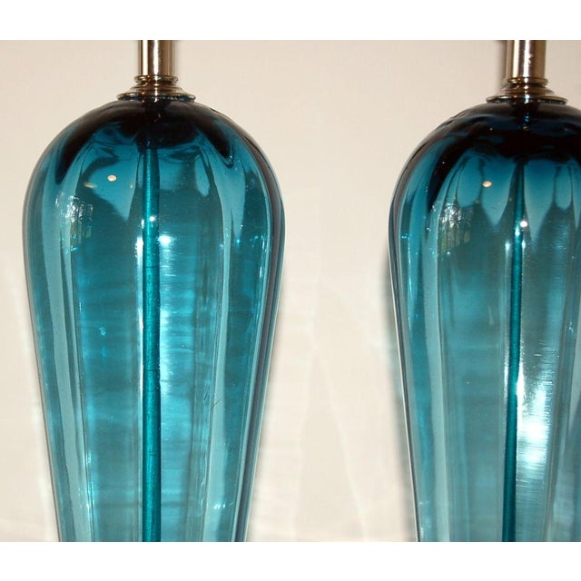 1960s Vintage Italian Glass Teardrop Table Lamps Teal Blue For Sale - Image 5 of 8