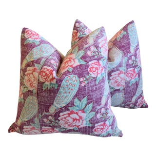 "Bohemian Chic Lavender, Red & Green Floral Batik Feather/Down Pillows 24"" Square - Pair For Sale"