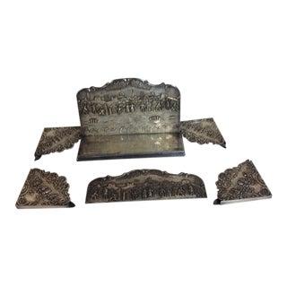 Antique Silver Plated Calendar Desk Set - 9 Pieces