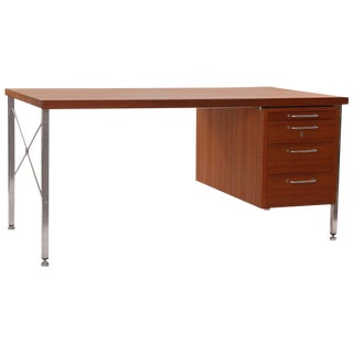Hans Wegner Teak and Steel Executive Desk For Sale