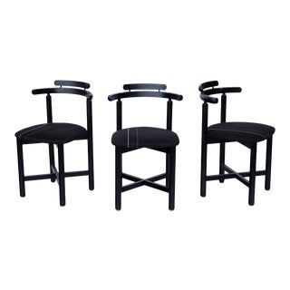 Set of 3 Danish Dining Chairs With Striped Seats For Sale