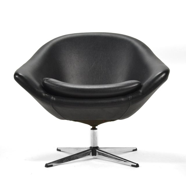 Metal Overman Black Swivel Lounge Chair For Sale - Image 7 of 9