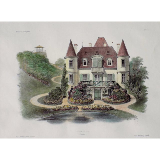 Original hand colored lithograph from Habitations Champetres by Becquet Brothers, circa 1860. Displayed in a mat....
