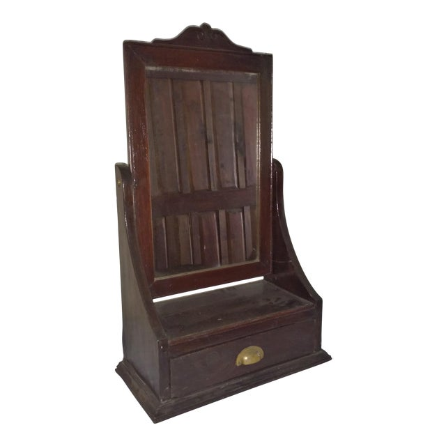 Antique Rosewood Shaving Mirror British Colonial Plantation Piece For Sale