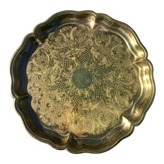 Large Vintage Etched Brass Tray For Sale