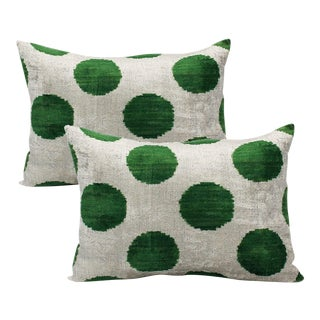 Silk Velvet Cream and Green Down Feather Bolster Pillows - A Pair