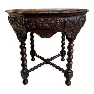 Antique French Octagon Table Barley Twist Carved Oak Center Sofa Renaissance For Sale