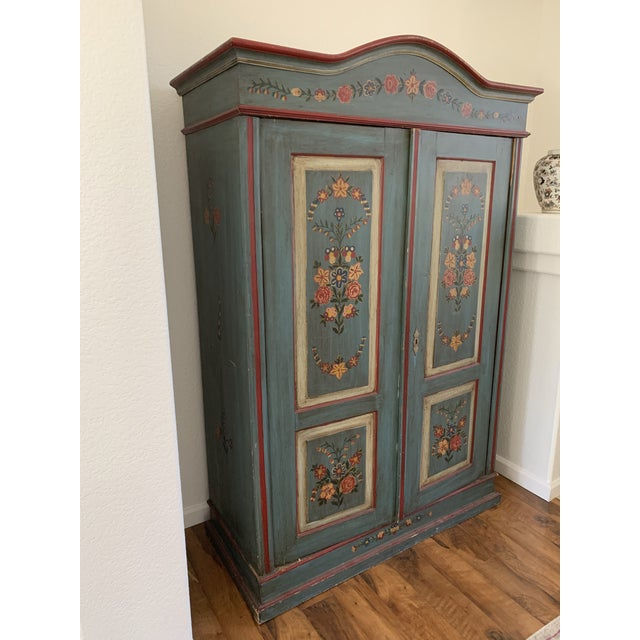 Antique Vintage Hand Painted 19th Century Armoire For Sale - Image 4 of 13