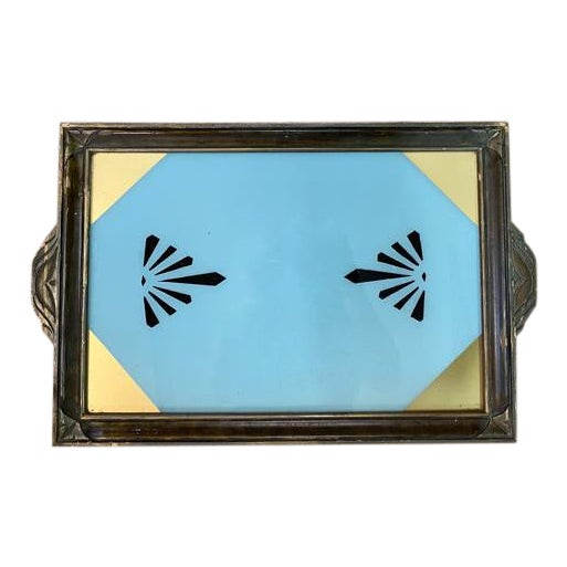 Antique Art Deco Reverse Painted Glass Tray For Sale