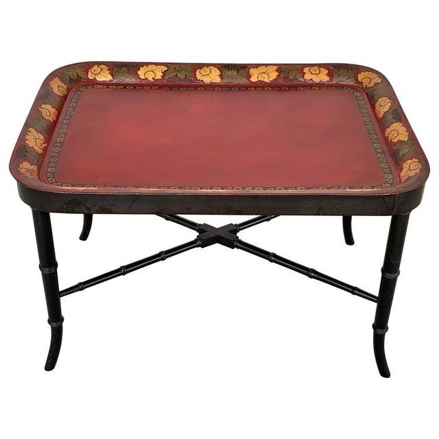Regency Tole Tray Table in Red, Faux Bamboo Ebonized Base For Sale - Image 12 of 12