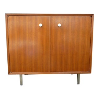 1960s Mid-Century Modern Herman Miller George Nelson Two Door Walnut Cabinet For Sale