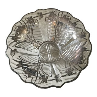 1920s Art Deco Glass Bowl With Sterling Silver Overlay