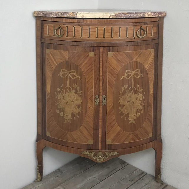 Late 19th Century 19th Century French Louis XVI Marquetry Marble Top Corner Cabinet For Sale - Image 5 of 13