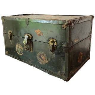 Vintage Metal Steamer Trunk With Luggage Label, Small For Sale