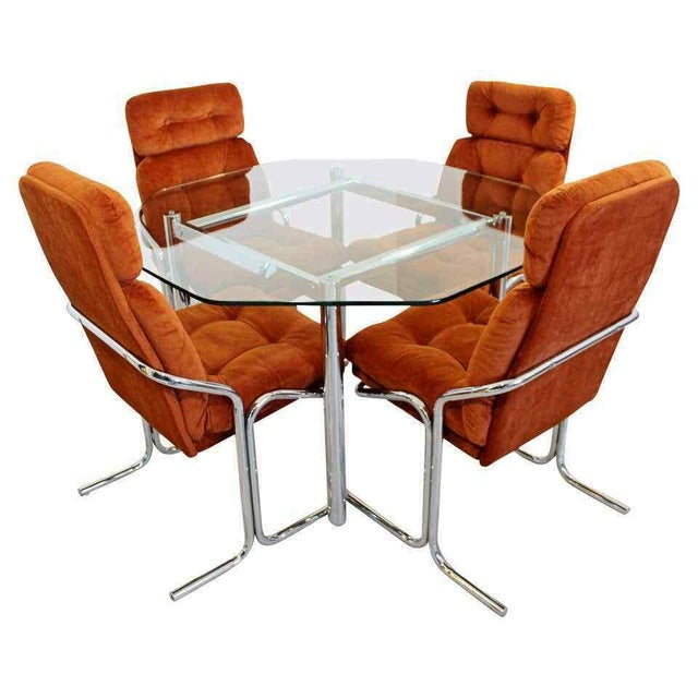 Mid Century Modern Chrome Dinette Set 4 Side Chairs Octagon Glass Top Table 70s For Sale - Image 12 of 12