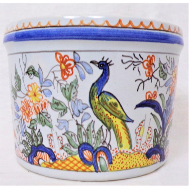 This is a very beautiful vintage Tiffany & Company Majolica Cachepot. This little planter is hand painted in France...