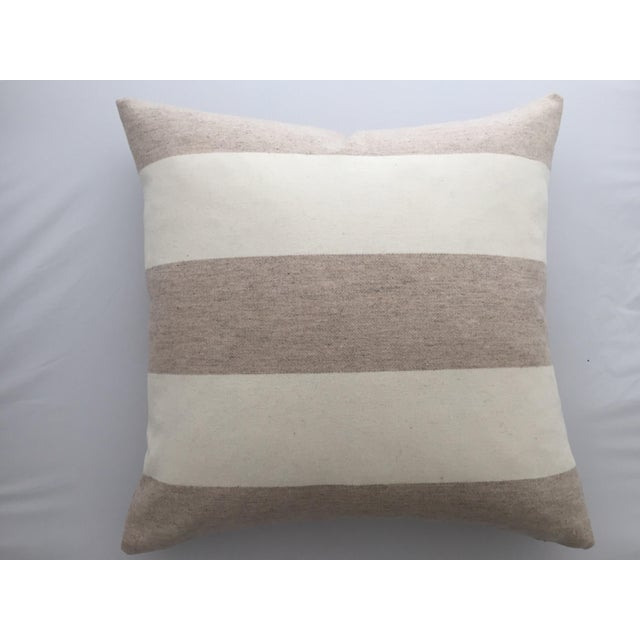 FirmaMenta Italian Eco-Friendly White and Cream Stripes Wool Pillow For Sale - Image 4 of 4