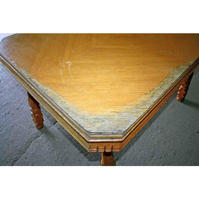 Traditional 20th Century Traditional Square Oak Table For Sale - Image 3 of 5