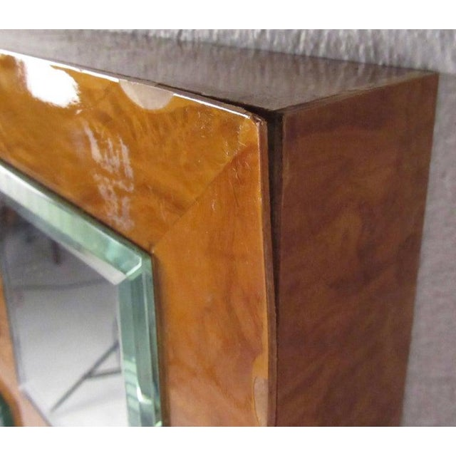 Vintage Modern Burlwood Mirror in the Style of Milo Baughman For Sale - Image 9 of 11