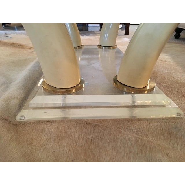 Faux Elephant Tusk & Lucite Coffee Table For Sale - Image 5 of 10