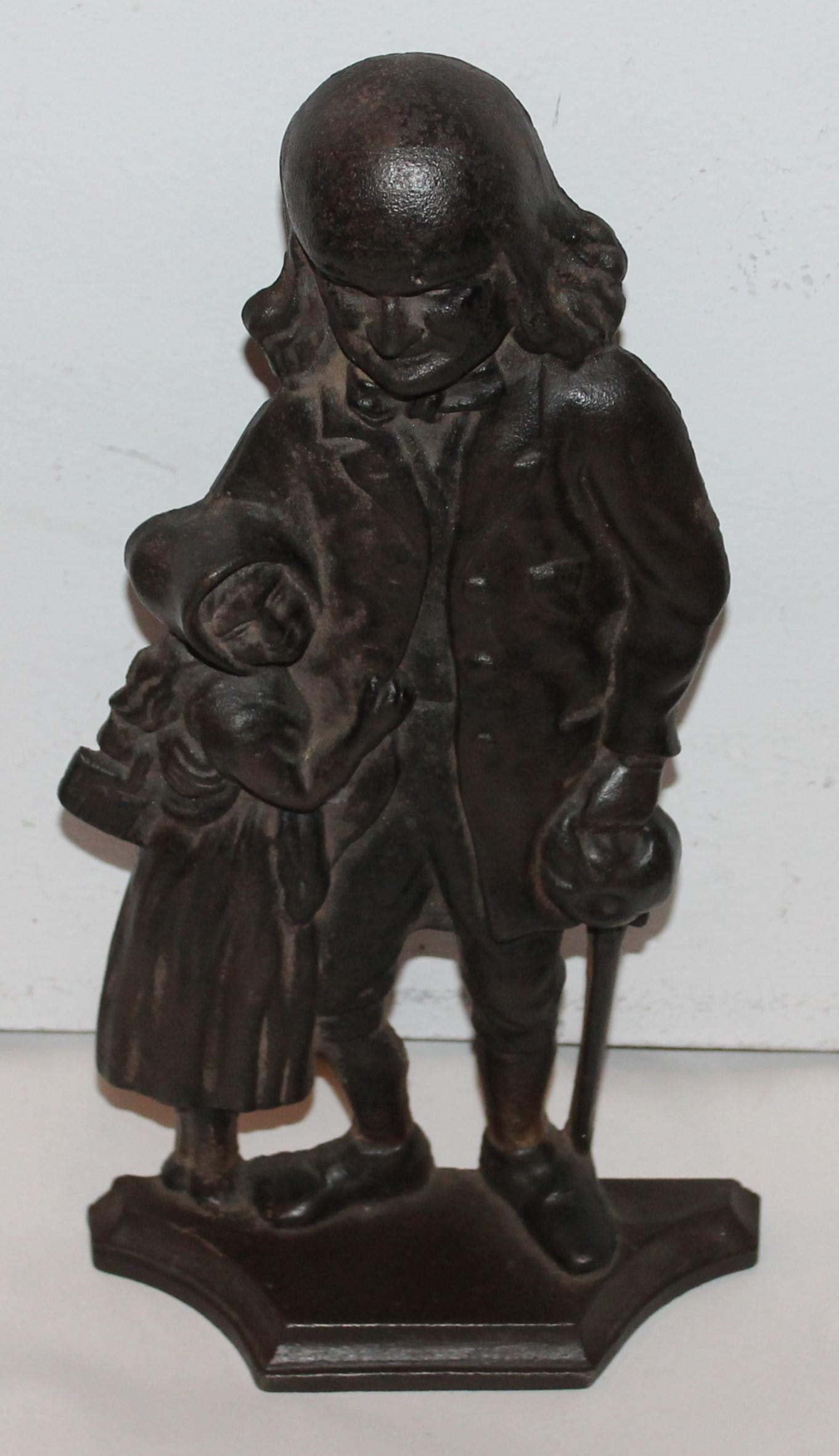 Benjamin Franklin Cast Iron Door Stop   Image 2 Of 7