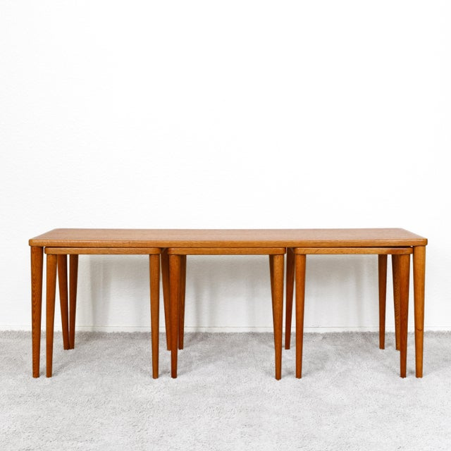 Rare and exceptional mid century dux teak coffee table with three nesting snack tables. Made in Sweden. Coffee Table...