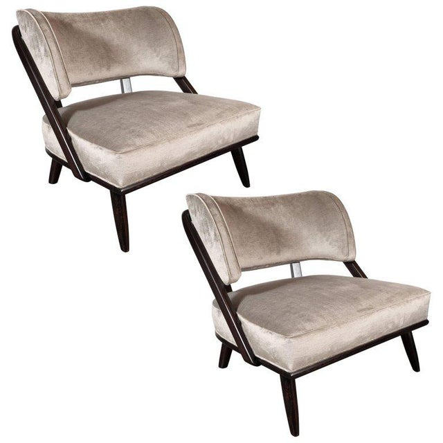 Textile Pair of Midcentury Slipper Chairs in Ebonized Walnut by Robsjohn-Gibbings For Sale - Image 7 of 7