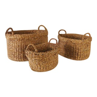 Seagrass Oval Baskets With Handles & Cuffs from Kenneth Ludwig Chicago - Set of 3 For Sale