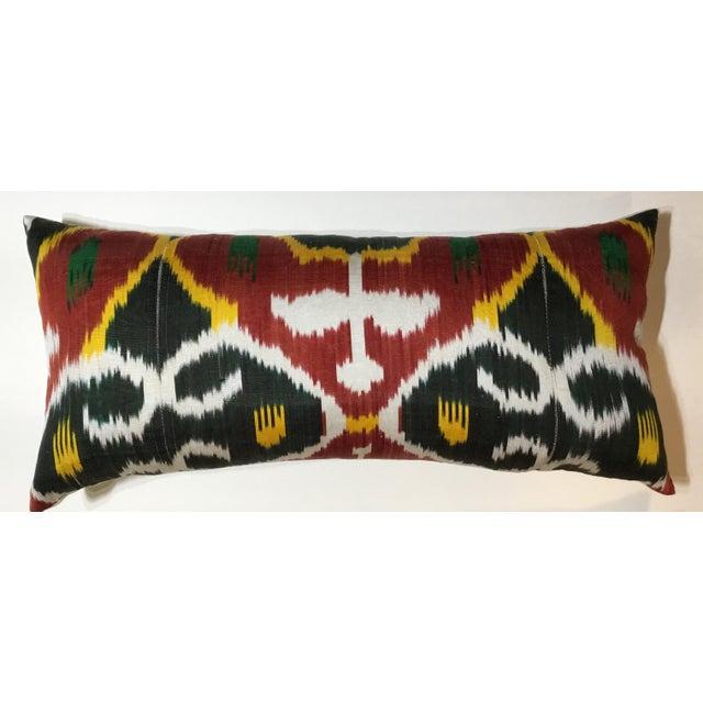Red Silk Ikat Lumbar Pillows - a Pair For Sale - Image 8 of 13