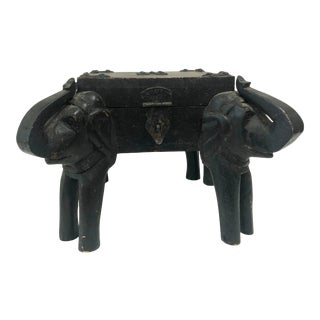 Desk Accessory: Hand Carved Elephant Box With Working Lid and Latch For Sale