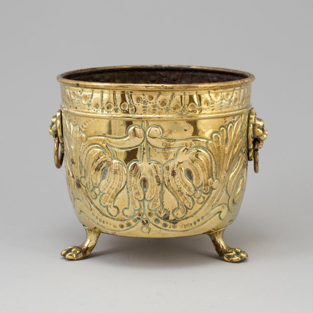Hollywood Regency Brass Flower Pot, 19th Century, France For Sale - Image 3 of 5