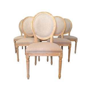 Louis XVI Linen Medallion Side Chairs - Set of 6