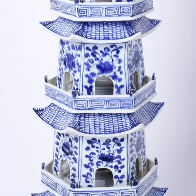 Chinese Blue and White Porcelain Pagodas - A Pair For Sale - Image 4 of 9