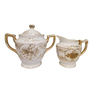Nippon Art Deco Vintage White & Gold Large Sugar & Creamer - A Pair