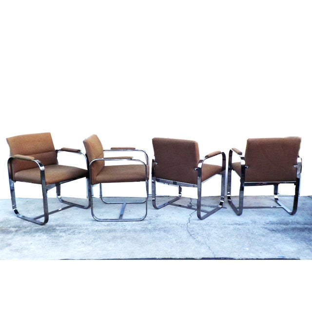 Mid-Century Modern Chrome Chairs - Set of 4 - Image 3 of 7