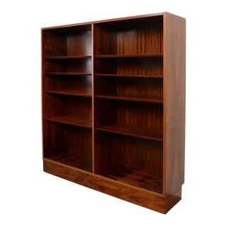 Hundevad Danish Modern Rosewood Double Bookcase For Sale
